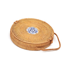 Round Straw Bags Women Summer Rattan Bag Handmade Woven Beach Cross Body Bag Circle Bohemia Handbag Bali Cosmetic bag купить недорого в Москве