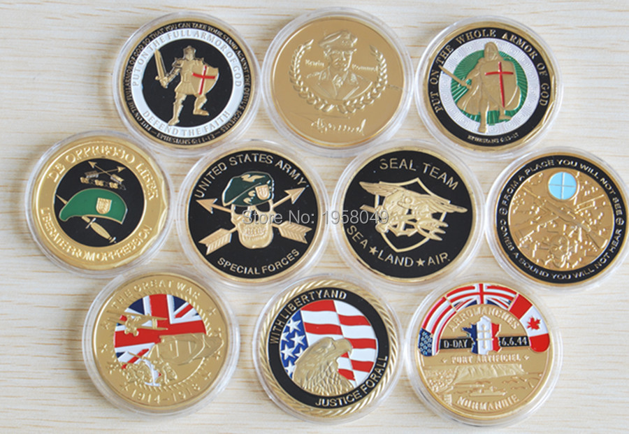 Mix 10 different coin,30pcs/lot free shipping UNITED STATES AIR FORCE GOLD CLAD CHALLENGE COIN
