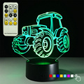Creative 3D Tractor Light 7 Color Changing Atmosphere Nightlight Kids Gift Toy Pmma Illusion Desk Lamp with Remote Control