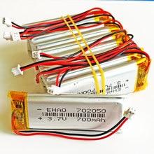 10 sztuk 3.7V 700mAh 702050 litowo-polimerowa lipo akumulator JST 1.25mm 2 pin dla Mp3 słuchawki PAD DVD kamera bluetooth