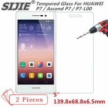 SIJIE 2PCS Tempered Glass For HUAWEI Ascend P7 P7-L00 save cover AscendP7 Screen Protector protective 5