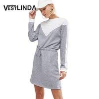 AZULINA Women Shirt Dresses Casual Outdoorwear Girls Mini Vestidos Long Sleeve Fall Dress Lace Up Patchwork