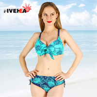 women big size bikini two pieces knot elastic rose pattern swimwear blue push up padded bra plus size large swimsuit