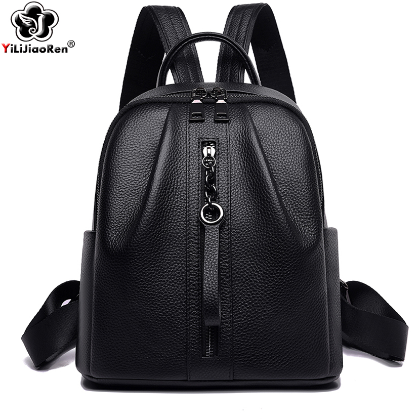 Casual Genuine Leather Women Backpack Brand Real Cow Leather Backpack Female Large Capacity School Bags for Teenage Girls 2019