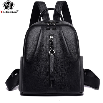 Casual Genuine Leather Women Backpack Brand Real Cow Leather Backpack Female Large Capacity School Bags for Teenage Girls 2019 hanyuna brand 2017 new fashion mini genuine leather backpack for school teenage girls women backpack female backpack