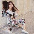 Mickey Pijamas para as mulheres Primavera e No Outono Novo Encantador Dos Desenhos Animados 2017 Algodão Mulheres Conjuntos de Pijama Homewear Pijama define Terno do lazer