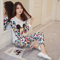 Mickey Pijamas para las mujeres Primavera y El Otoño de la Nueva Historieta Encantadora 2017 de Algodón de Las Mujeres Conjuntos de Pijamas Homewear pijamas Juego del ocio