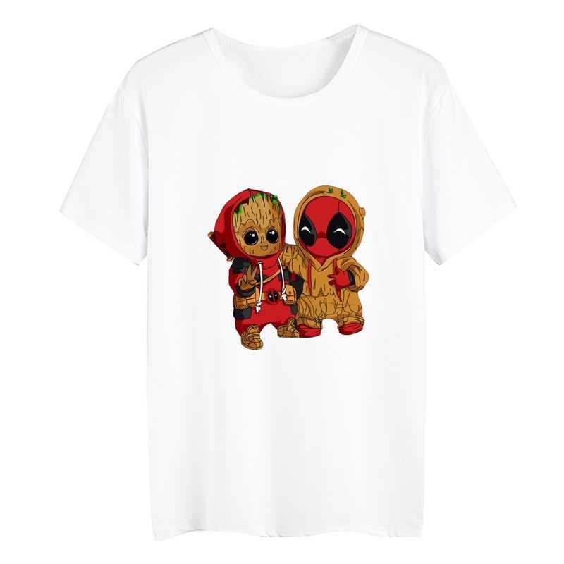 Pikachu Deadpool Groot Batman Kartun Lucu Musim Panas Plus Ukuran Longgar Leher O Modal Lengan Pendek Wanita Kasual Tshirts A19516