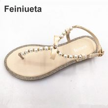 112ab06e916 Brand women s sandals 2017 summer beaded stone pearl female sandals Rome  flat sandwich toe women s sandals flat wedding shoes