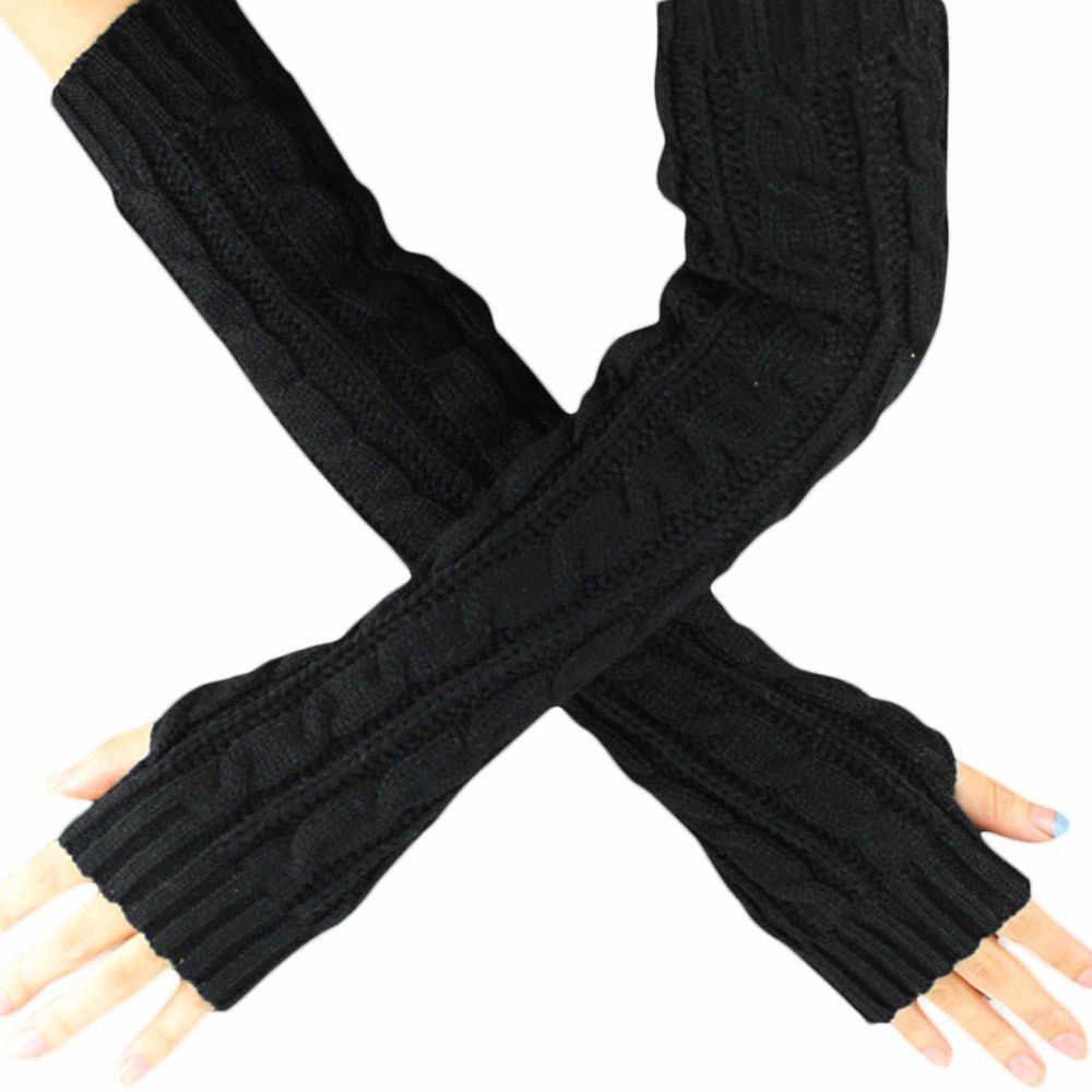 Vestido Hemp Knitted Long Gloves Women Flowers Fingerless Knitted Keep Warmth Winter Guantes Mujer Wholesale Drop Shipper #Y10