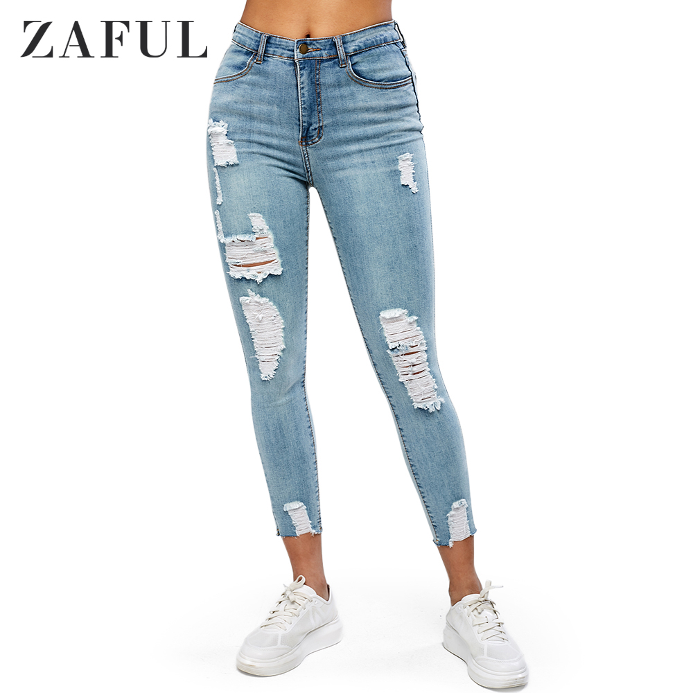 ZAFUL Distressed Pocket Light Wash   Jeans   Zipper Fly High Waist Skinny Hole Pencil Pants Frayed Ankle-Length Streetwear 2019