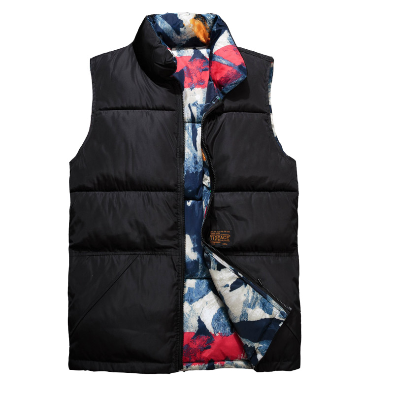 2018 Both Sides Wear Mens Sleeveless   Parka   Vest Jacket Cotton New Winter Warm Thick Male Camouflage Casual Vest Coats Jaqueta