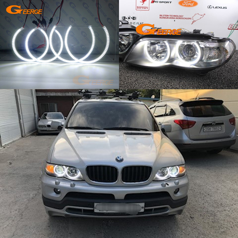 For BMW <font><b>X5</b></font> <font><b>E53</b></font> <font><b>2004</b></font> 2005 2006 Excellent angel eyes Ultra bright illumination smd led Angel Eyes Halo Ring kit DRL image