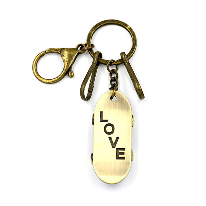 Men's Women's Lover's Key Accessories key chain Vintage Charm Creative Dangle Skateboard Keychain joyeria Jewelry Gifts