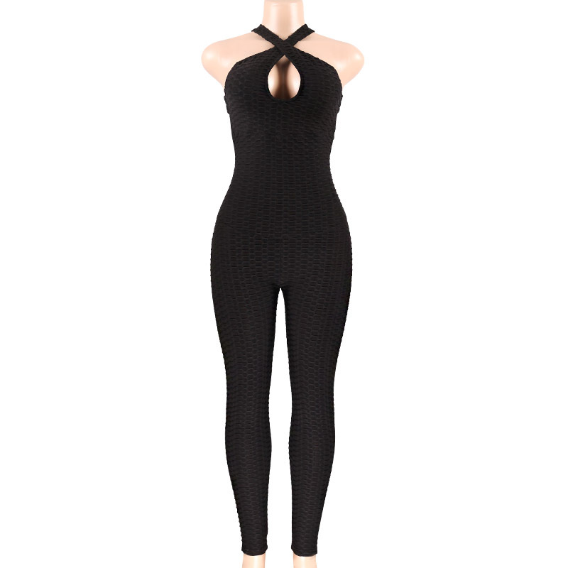 2019 New Cross Bandage bodycon Jumpsuit Sexy Sleeveless Solid Bodysuit Backless Casual Fitness Women Long Jumpsuit body mujer in Jumpsuits from Women 39 s Clothing