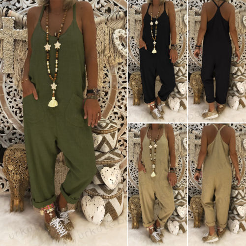Women Cotton Linen Overalls   Jumpsuit   Strap Rompers Dungaree Loose Trousers   Jumpsuits   Solid Pockets Long Ladies Casual Bodysuits