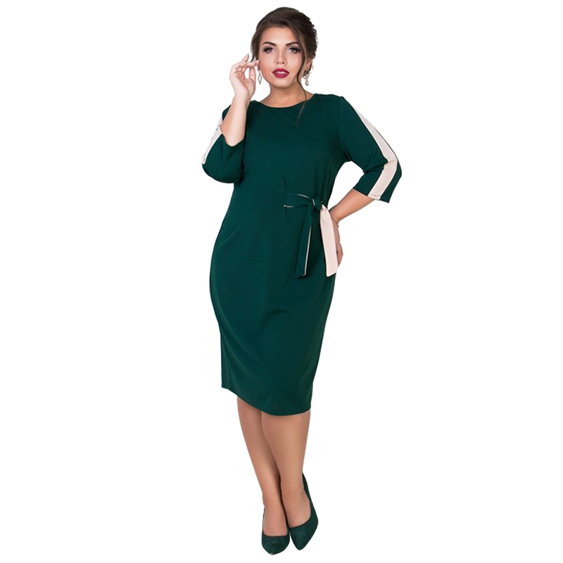 Elegant Dress 2019 Summer Plus Size Women Dress Bodycon Bandage Dress 5XL  6XL Ladies Black Office Dress Midi Vestidos