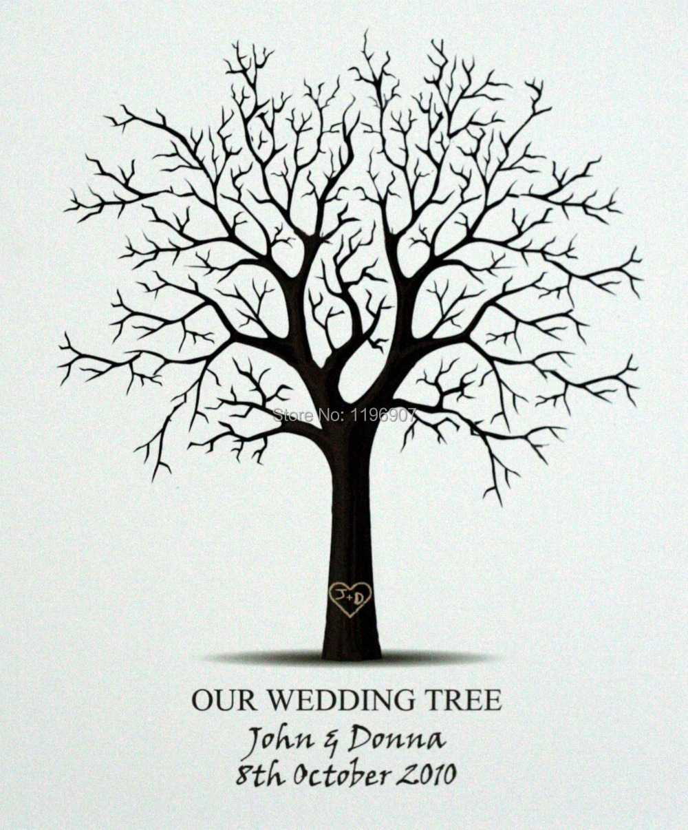 6080 cm wedding decoration clasic vintage tree design wedding fingerprint tree guestbook nice tree style wedding guest book in cards invitations from