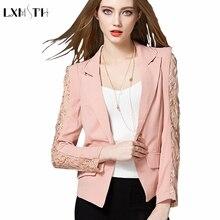 Women's Blazer Lace Patchwork Formal Work Black Jacket Coat 2018 Fashion Female Short Slim Long Sleeve One Button Women Suit