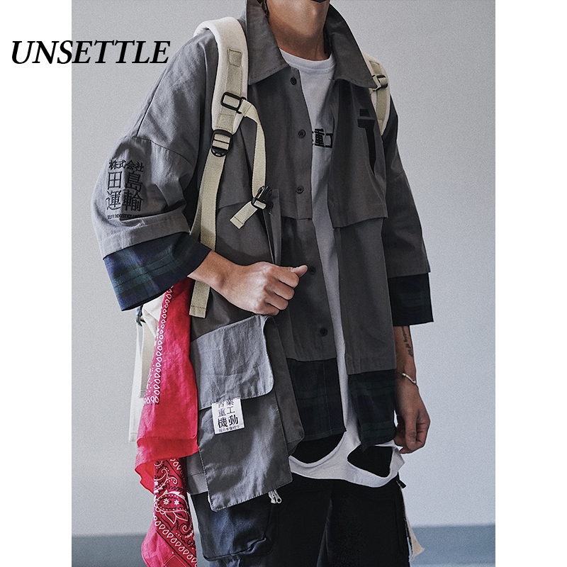 UNSETTLE Functional Multi Pockets Shirt  Oversize Patchwork Hip Hop Streetwear Shirt Male Vintage Shirts