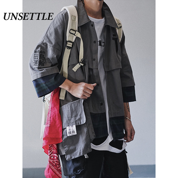 UNSETTLE Functional Multi Pockets Shirt  Oversize Patchwork Hip Hop Streetwear Shirt Male Vintage Shirts
