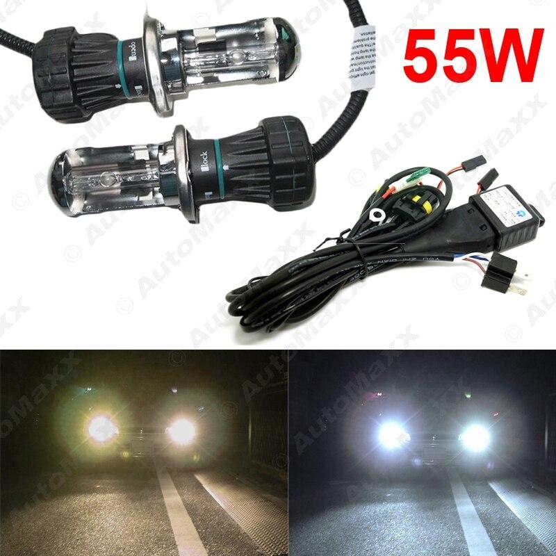 4Set 55W Car Xenon Headlight H4 9003 Hi/Lo Bi-Xenon HID Repalcement Bulbs & Wire Harness AC 12V #J-2423 4set 35w car xenon headlight h4 9003 hi lo bi xenon hid repalcement ac bulbs