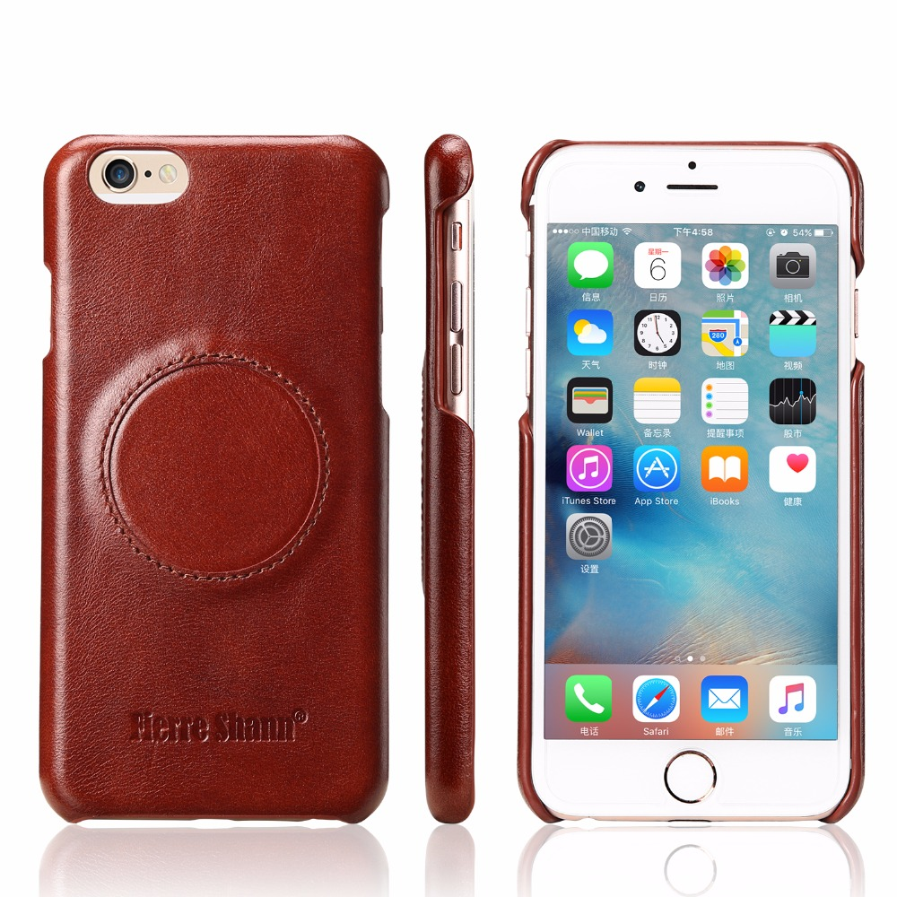 429333d0190c68 Fierre Shann de protéger impact Véritable en cuir retour shell pour Apple  iPhone 6 Plus 6 S Plus cas de téléphone portable