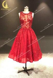 Image 2 - JIALINZEYI Immagine Reale Più Nuovo Vino Rosso Perline di Cristallo di Lunghezza Della Caviglia Una Linea di Abiti da ballo Vestiti Da Partito 2019