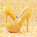 2016 new fashion Women shoes gold diamond bridal shoes high heel shoes Women wedding shoes Women pumps
