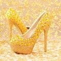 2016 nueva moda de Las Mujeres zapatos de diamantes de oro zapatos de novia zapatos de tacón alto de Las Mujeres zapatos de la boda bombas de Las Mujeres