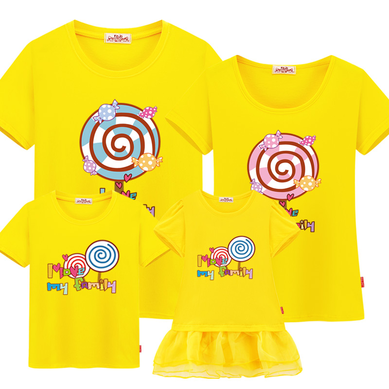 new family summer clothing mother daughter dress kid t-shirt Matching Outfits fashion cotton family matching clothes family look