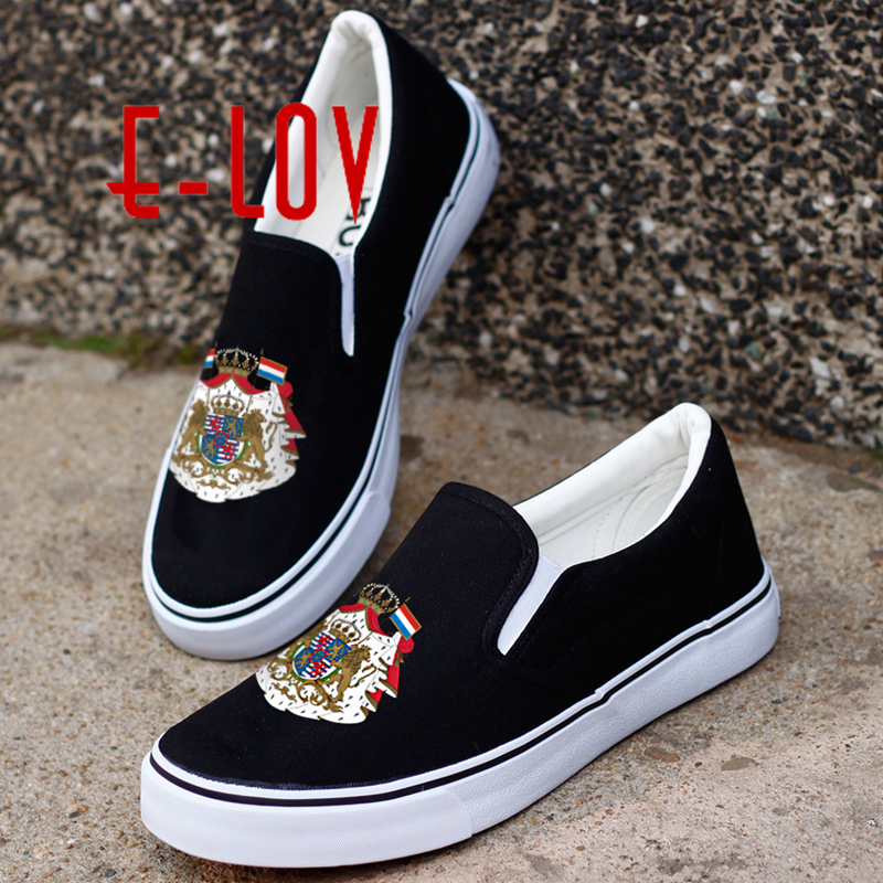 E-LOV New Fashion Printing Luxembourg National Emblem Canvas Shoes Luxemburgues Luxembourgian Casual Loafers