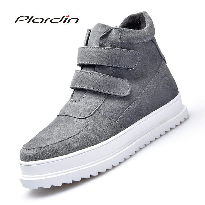 Plardin New Winter Ankle Boots Shoes Sneakers Women Genuine Leather Flats Shoes Ladies Moccains Black Plush Fur Short Boots