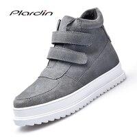 Plardin New Winter Ankle Boots Shoes Sneakers Women Genuine Leather Flats Shoes Ladies Moccains Black Plush Fur Short Boots