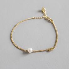 HFYK 2019 elegant 925 sterling silver pearl bracelets for women gold chain bracelet bangles silver 925 jewelry pulseira feminina