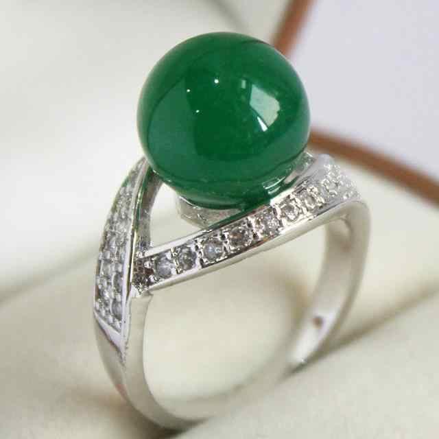 Elegant lady เงินคริสตัลและ 12 มม. แหวนหยกสีเขียว (#7 8 9 10)