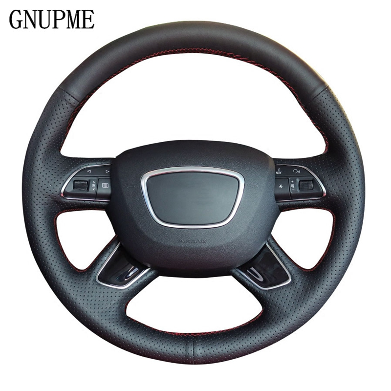 GNUPME Black Hand-Stitched Leather Car Steering Wheel Cover for Audi A3 A4 2013-2018 A6 2005-2018 Q3 2012-2018 Q5 Q7 2013-2018