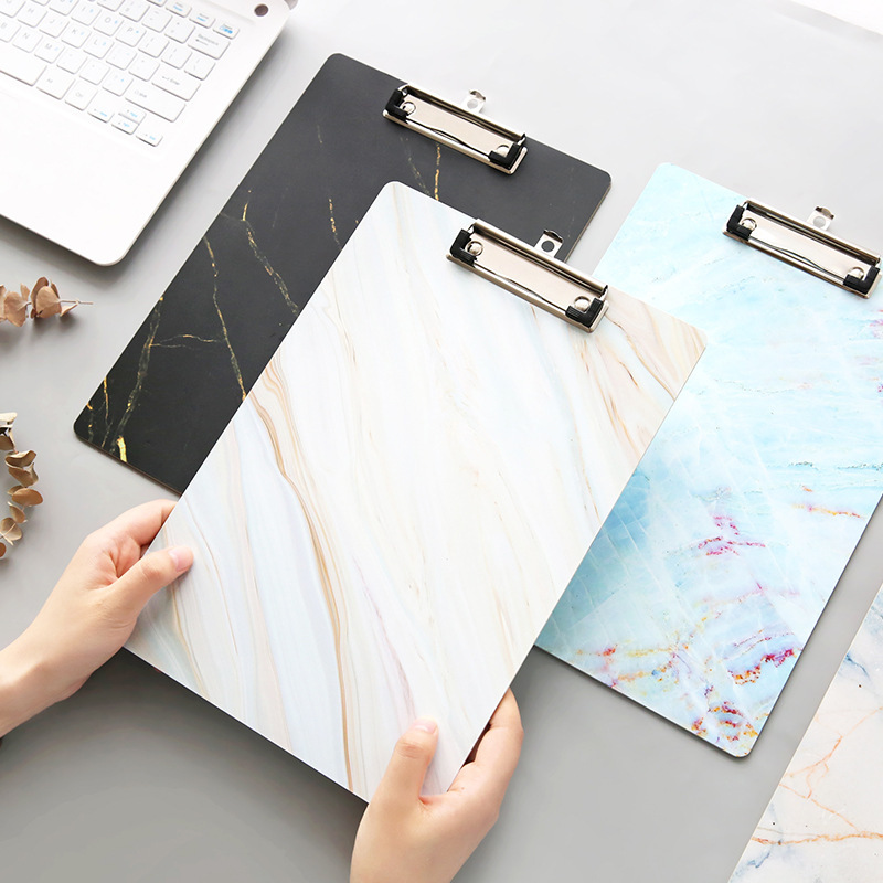 A4 Marble File Folder Clipboard Writing Pad Colorful WordPad Document Holders School Office Stationery Wooden Board Clamp Supply