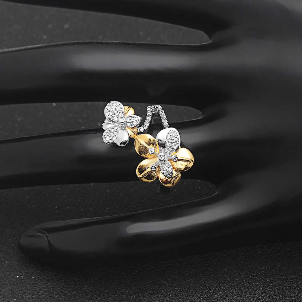 Hainon роскошные дизайнерские модные золотистые Цветочные циркониевые инкрустированные кристаллами кольца для женщин обручальные Серебристые ювелирные изделия Подарочные Кольца