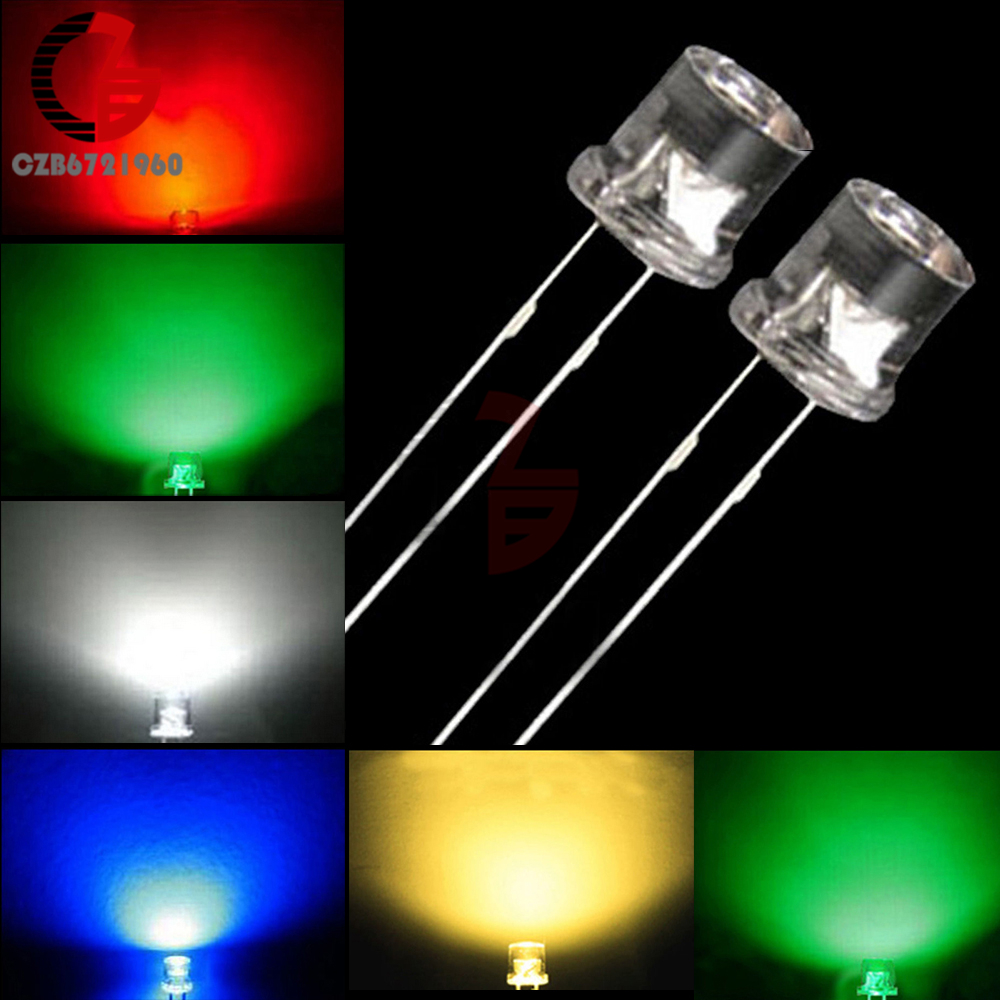2mm Green Flat Top Water Clear LED Leds Light Long Pins Free Shipping 100pcs