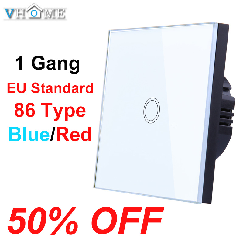 Vhome 1 Gang 1 Way Touch Switch Crystal Glass Panel LED Light Touch Screen Switch EU UK 220V Lamp Touch Sensor Wall Switch