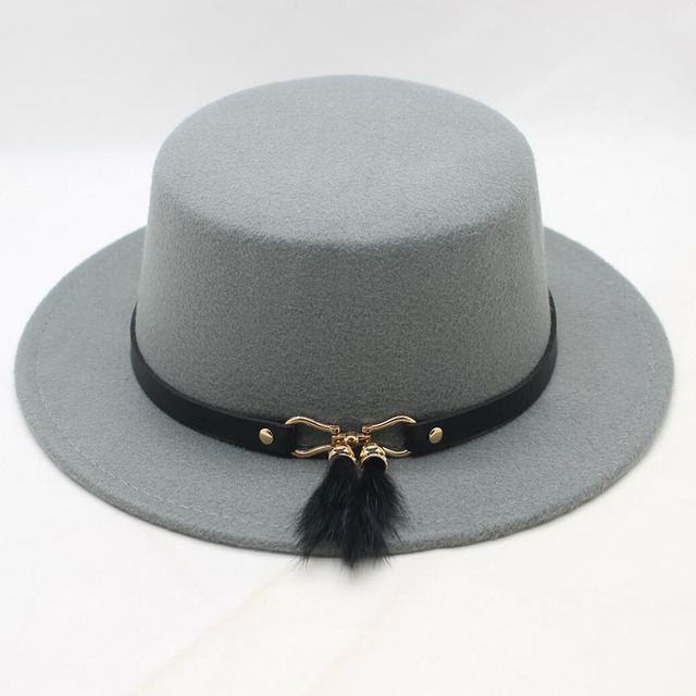 99486d2007485 BING YUAN HAO XUAN Retro Unisex Men Women Wool Felt Flat Dome Oval Top  Porkpie Bowler Hat (Customize Size  56-58cm