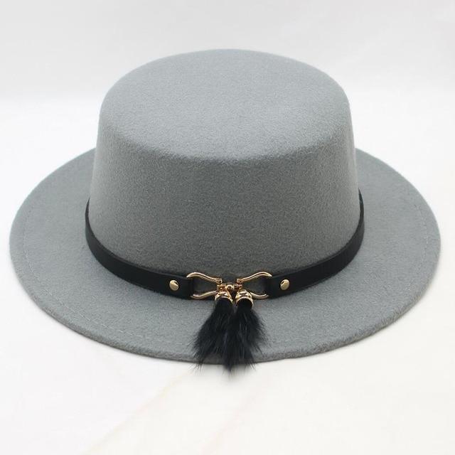 f68744784a6369 BING YUAN HAO XUAN Retro Unisex Men Women Wool Felt Flat Dome Oval Top  Porkpie Bowler Hat (Customize Size: 56-58cm
