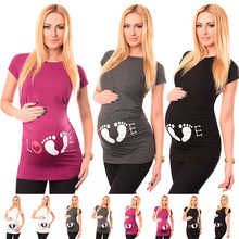 Women Maternity Solid Sexy O-neck Short Sleeve Tops Pregnant Nursing Soft Print Blouse Clothing