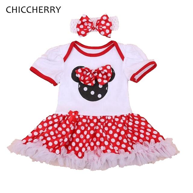 Minnie Cumpleaños Trajes de Bebé Mameluco Del Cordón Del Bebé Del Arco-nudo Vestido de Lunares Niño Tutu Establece Venda Roupa de Bebe infantil-ropa