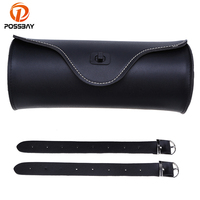 PU Leather Universal Black Motorcycle Saddles Bags Round Barrel Shape Tool Pouch Bag For Harley Honda