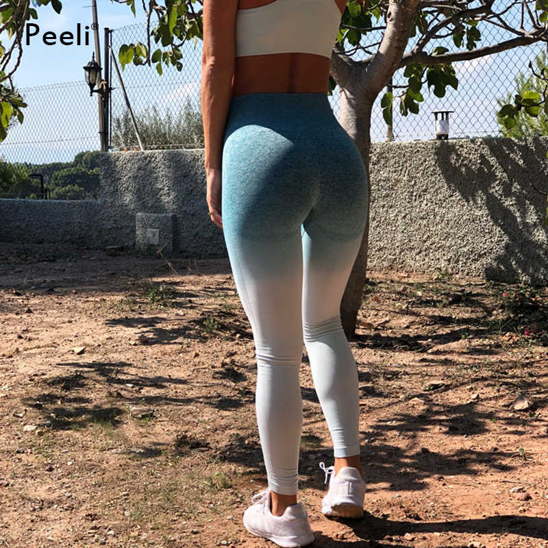 4ae46865c7e2a ... Peeli Booty Energy Seamless Leggings High Waist Yoga Pants Stretchy  Tummy Control Gym Tights Running Leggins ...