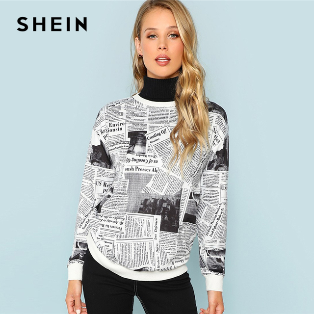 32d7235935 SHEIN Black and White Newspaper Print Sweatshirt Casual Letter Long Sleeve  Round Neck Pullovers Women Autumn