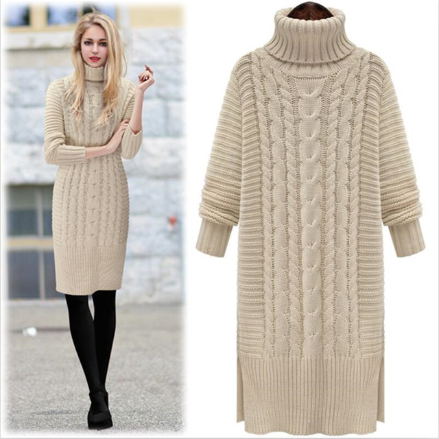 f02b707ca4d Winter Turtleneck Knitted Sweater Women Dress Loose Long sleeve Thicken  Pullover Sweater Warm Solid Sweater Lady Clothing