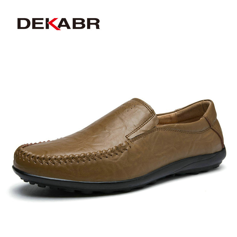 Split Leather Men Flats Brand Handmade Quality Casual Loafers Soft Moccasin for Men Driving Working Daily Shoes Big Size 38-45